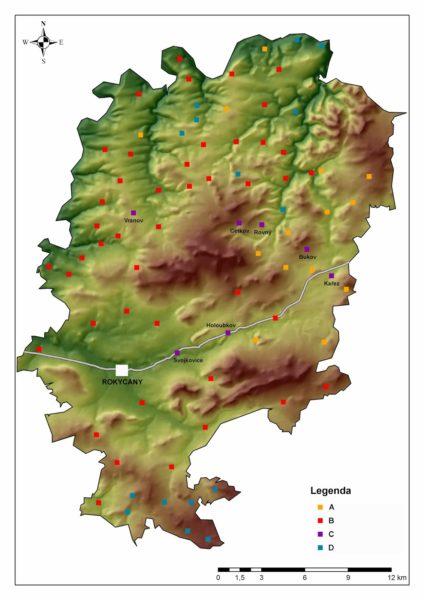 Kart över Rokycany, ett distrikt i västra Tjeckien