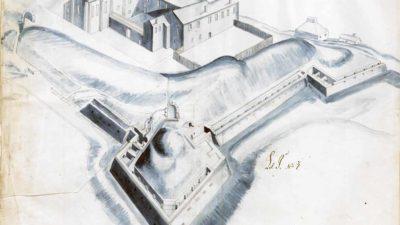 Skiss på Jönköpings slott från 1605 av Hans Fleming