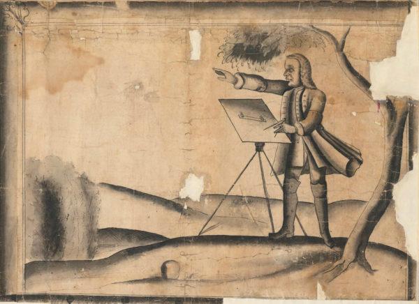 Detailjbild på kartan med illustration på en kartskapare.