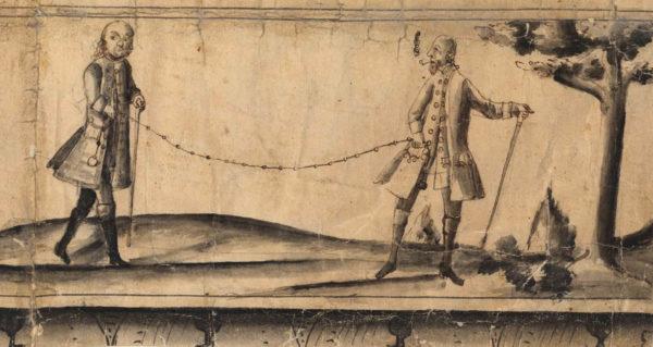 Illustration som finns på en gammal karta där två personer mäter ett avstånd.