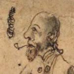 Illustration på en person som röker pila. Denna har skägg och inte så mycket hår på huvudet.