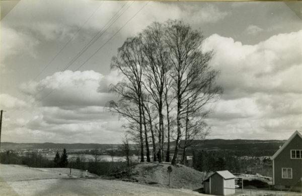 Domarekullen 1935. En villatomt har placerats omedelbart intill högen.