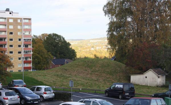 Nutida foto över Domarekullen. Omringad av parkering och höghus.
