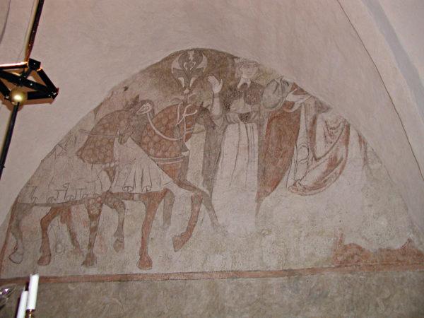 Väggmålning med illustration av hästar och personer. Hästarna är stiligt utrustade.