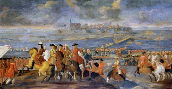 Christian V:s trupper intar Kristianstad år 1676