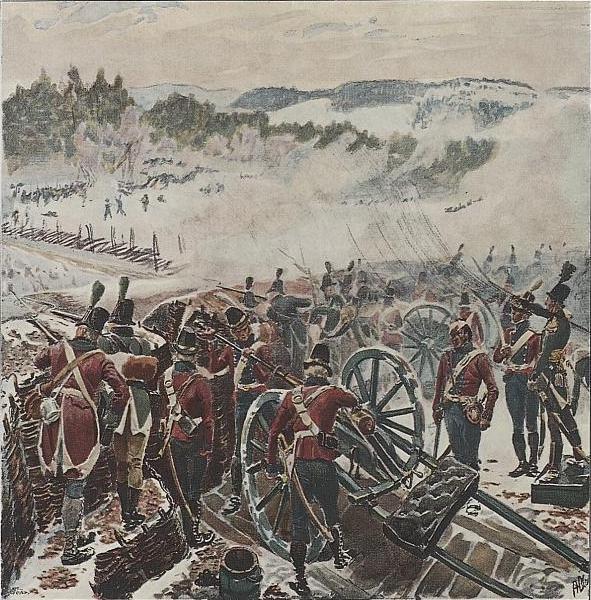 Målning av slaget vid Lier 1808. Flera soldater står och skjuter. Kanoner med hjul står här och där.