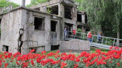 Bild på byggnad med sprickor över väggarna. På gården syns röda blommor.