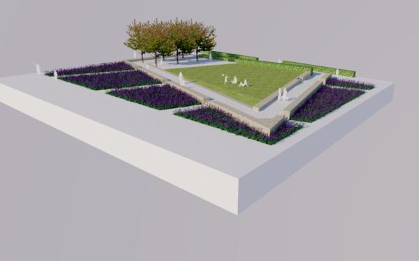 Renderad bild över Bastionsparken med träd, gräsytor och vallgravens salvia.