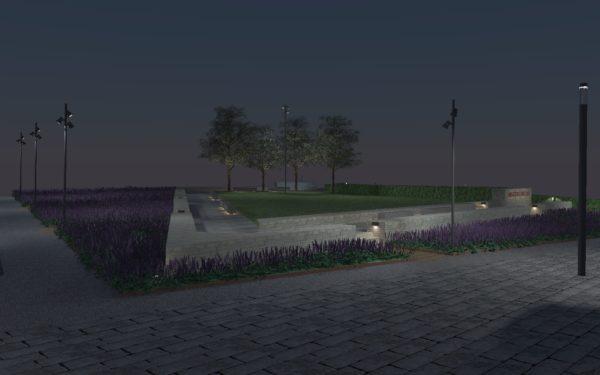 Renderad bild över Bastionsparken i nattlig belysning.