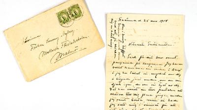 Ett brev skrivet av Elna Hedberg till en vän i Malmö.