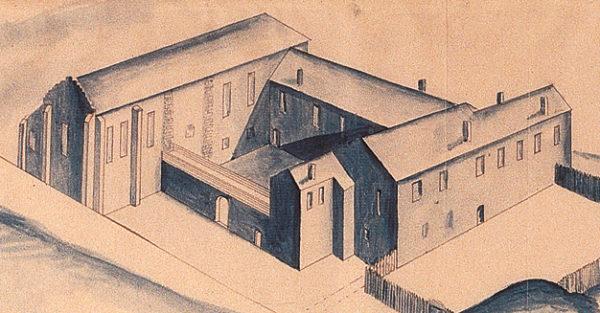 Perspektivritning över Jönköpings slott från år 1605.
