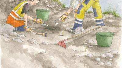 Illustration där två arkeologer gräver.