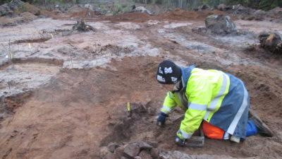 En arkeolog gräver där den nya vägen ska byggas.