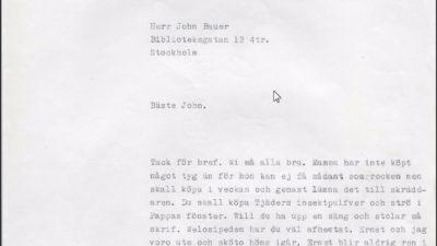 En avskrift av ett brev ur John Bauers brevsamling