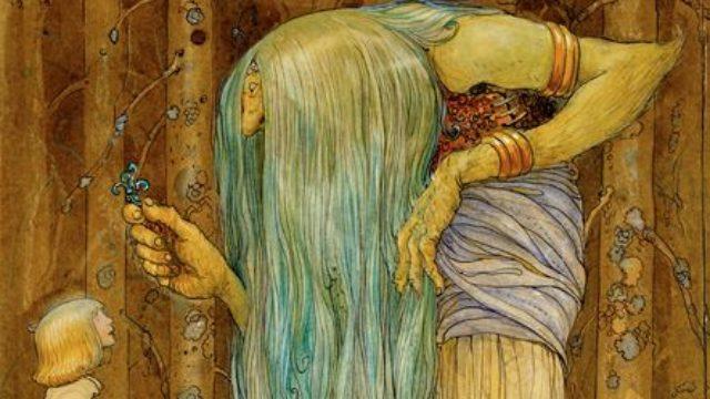 Ett troll med långt grönt hår överlämnar en liten växt, trollört, till en ung man med långt hår.