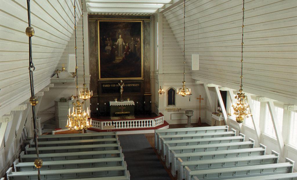 Stengårdshults kyrkas interiör.