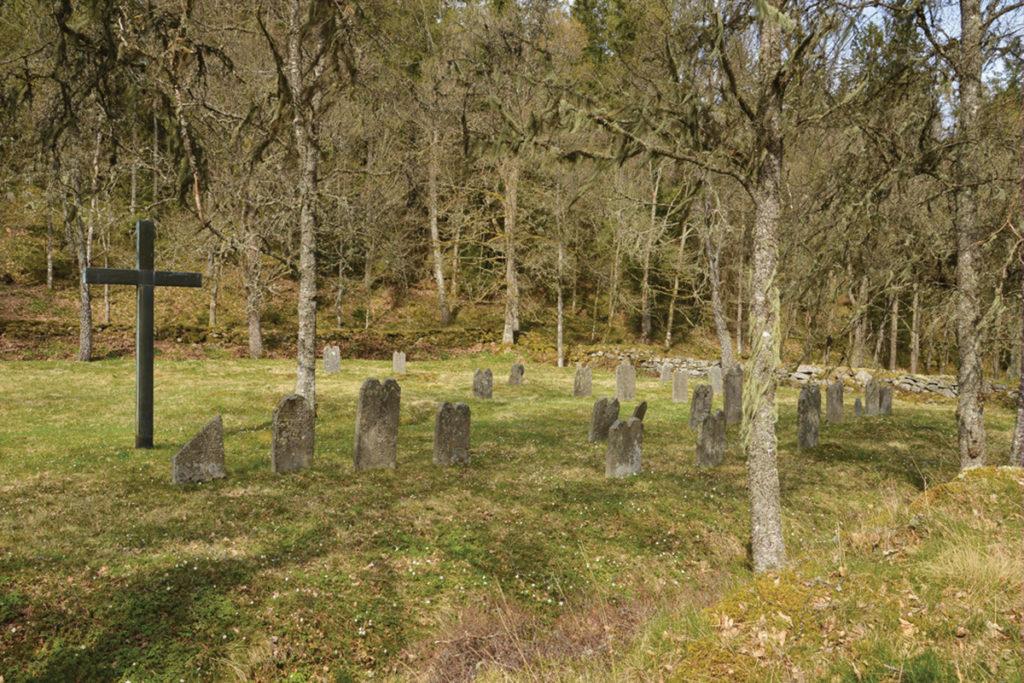 Tovig ängsmark med handhuggna gravstenar från 1700-talet.