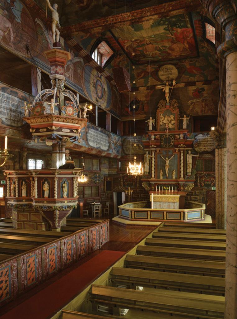 Habo kyrka med dess rika interiörmåleri.