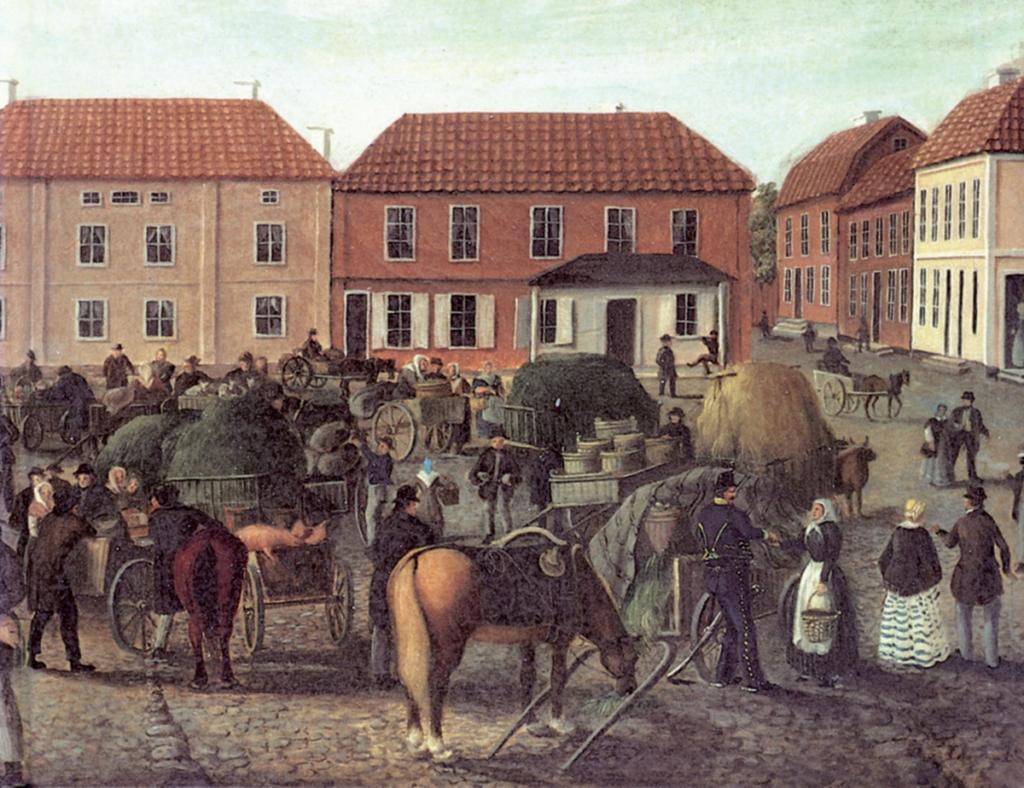 Målning av stora torget i Eksjö.