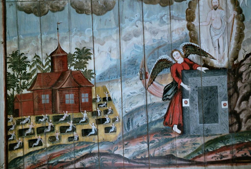 1700-talsmålning av uppståndelsescenen.