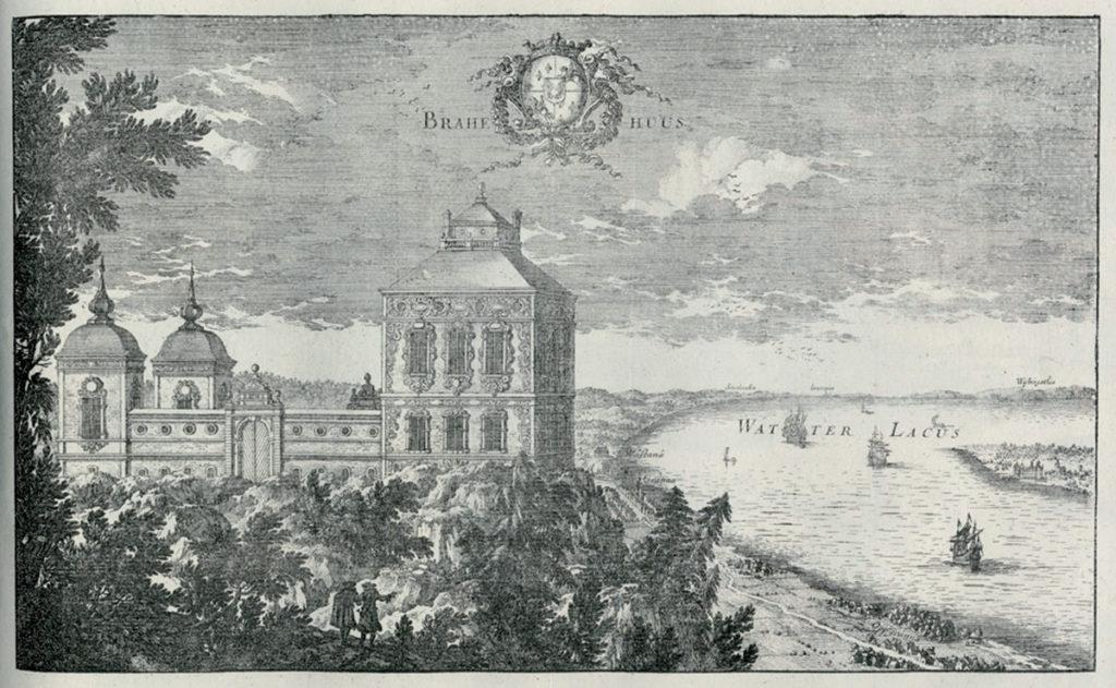 Brahehus avbildat i Erik Dahlbergs propagandaverk Suecia Antiqua.