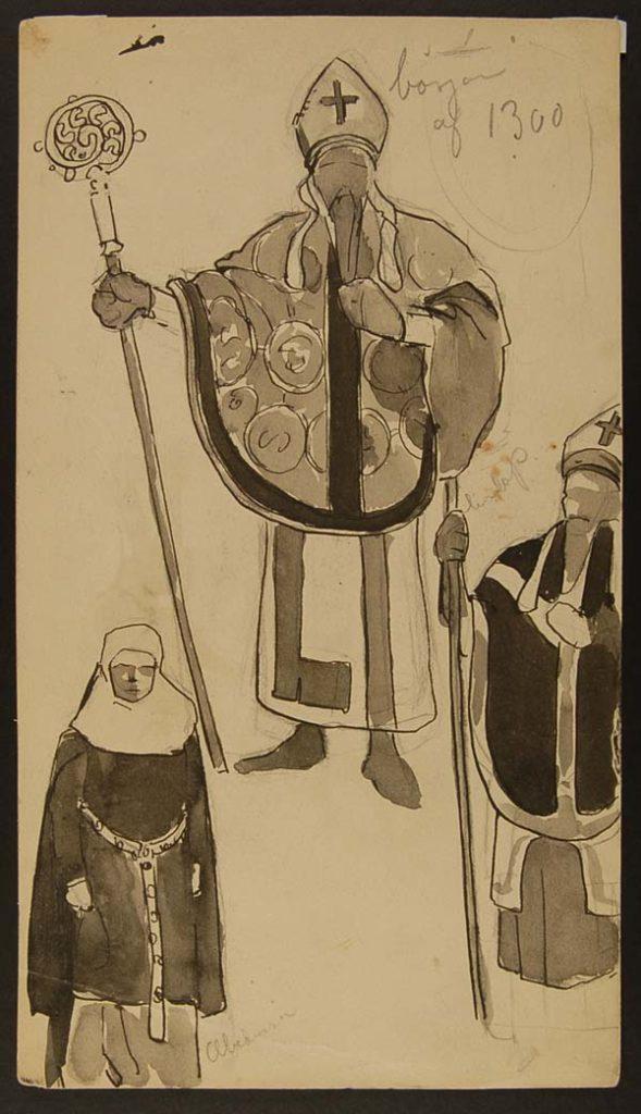 Målad bild på en man i ett vitt skynke. Mannen har en hatt med kors samt håller i en stav.