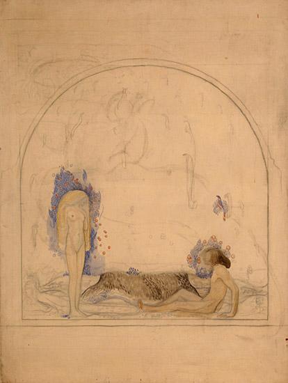 Skiss på en man och en kvinna. Kvinnan står upp och mannen sitter ner.