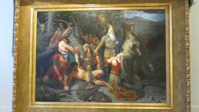 Målning med människor och häst i en guldram.