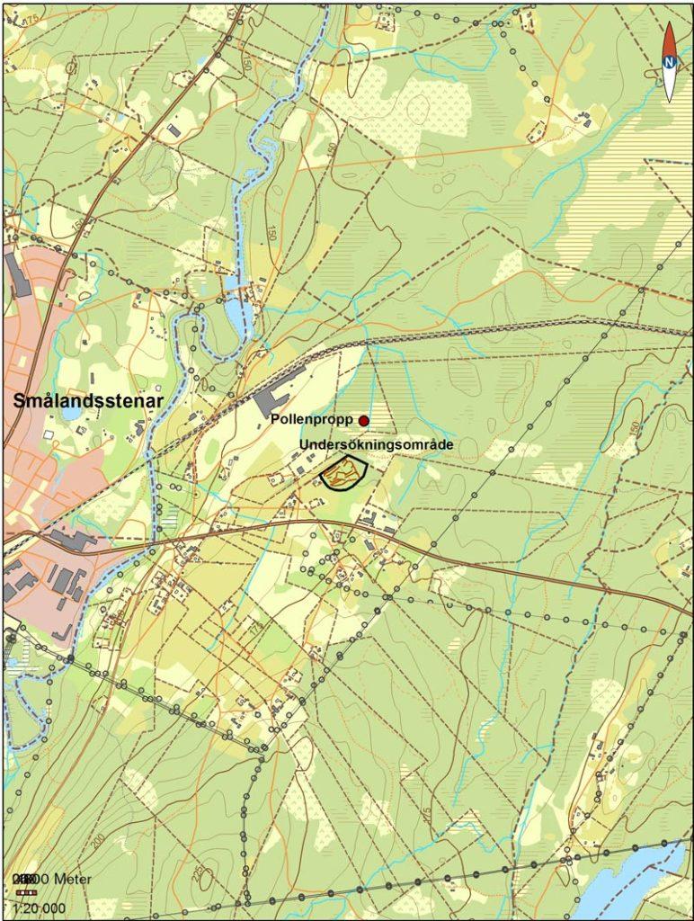 En karta med streck i.
