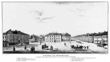 Illustrerad bild av ett torg.På torget går det folk och människor åker häst och vagn.