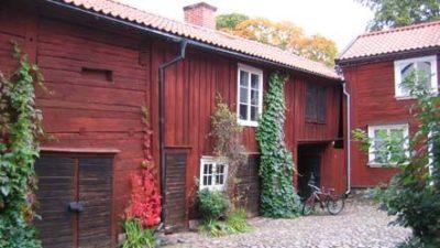 En innergård med ett gammal rött långt trähus. Växter växer på husets väggar.