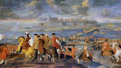 Målad bild där Människor rider på hästar. människorna krigar mot varandra.
