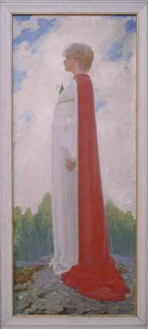 Tecknad kvinna med vit lång klänning och med en röd lång kappa.