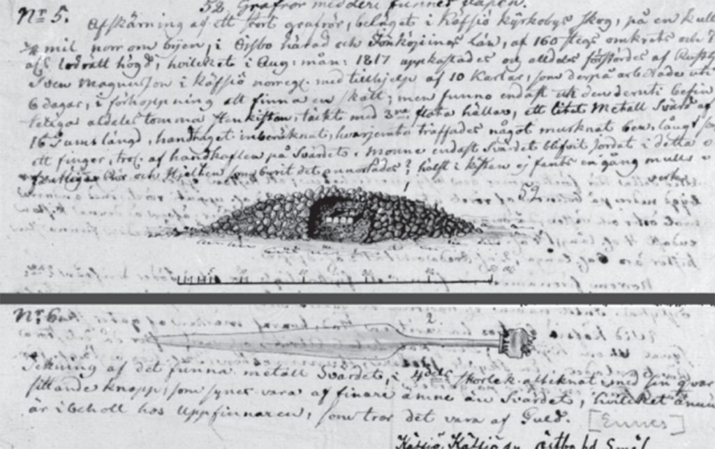 Dokumentationen vid utgrävningen 1817 visar rösets profil och den påträffade dolken.