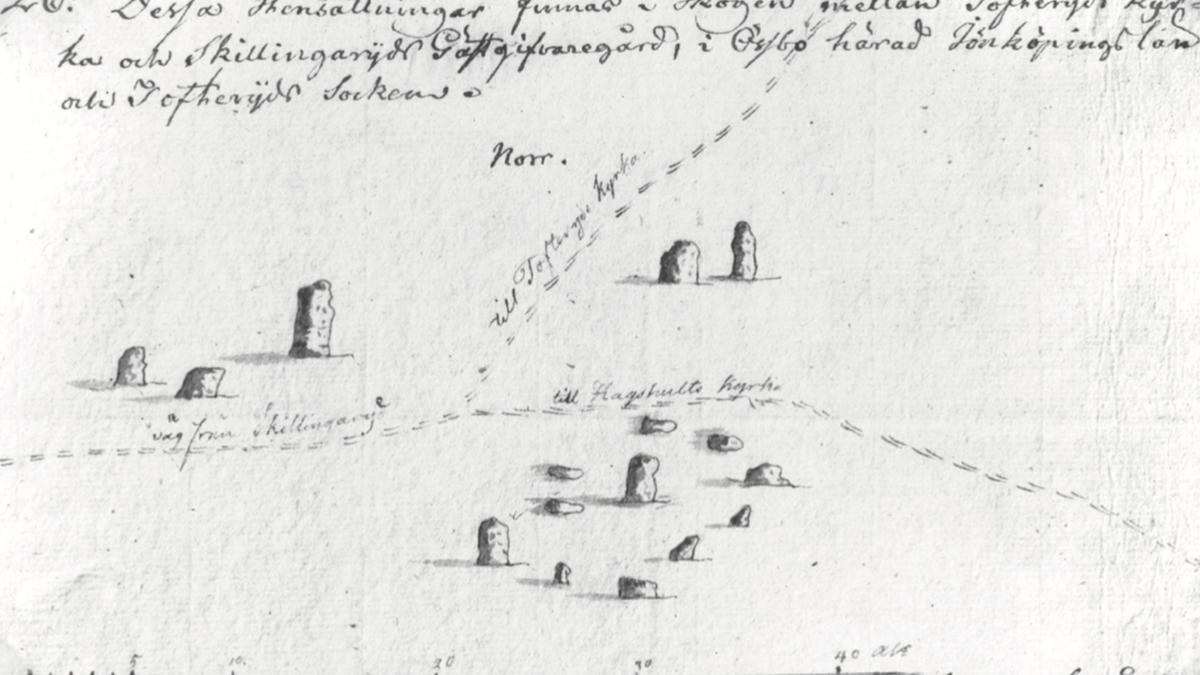 Teckning av fornlämningarna på Viedalen.