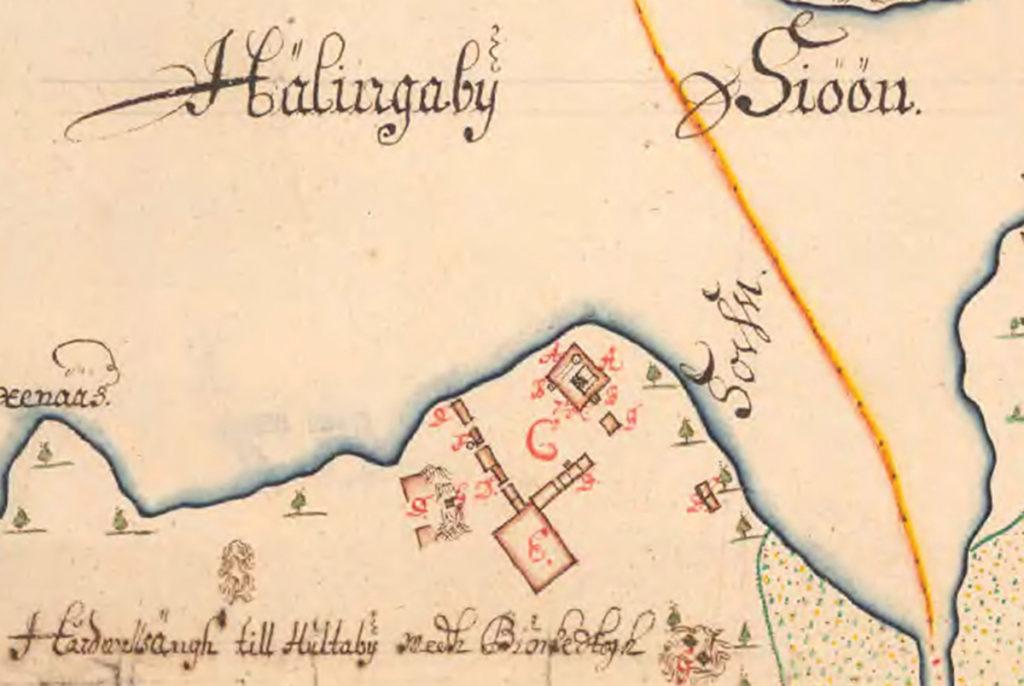 Karta från år 1693 över Vetlanda Hultaby slottsruin