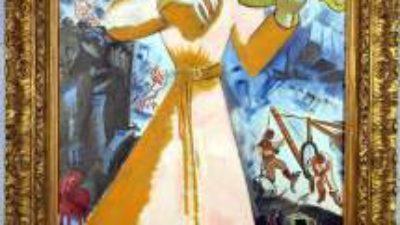 En tecknad kvinna klädd i klänning som spelar violin.