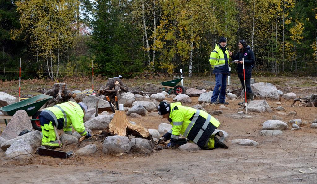 Flera människor som undersöker gravfält.
