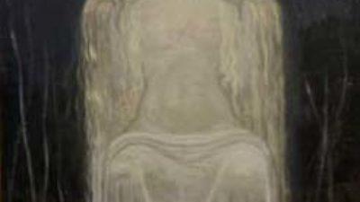 En målning på en kvinna i långt ljus hår.
