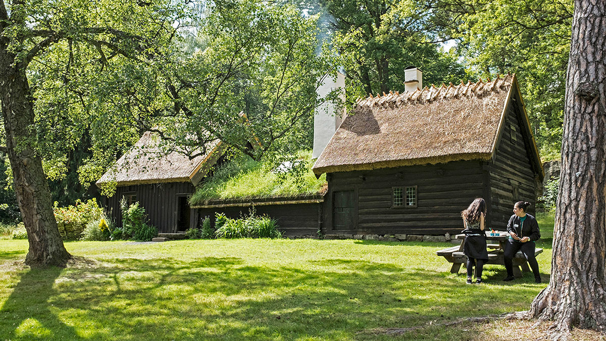 Gammalt hus omringad av en grön gräsmatta.