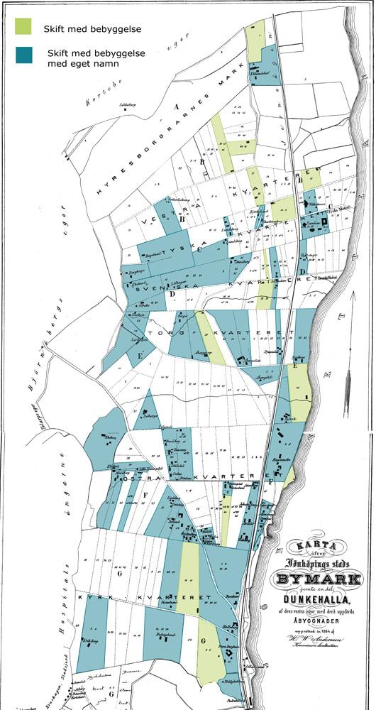 Vit karta med gröna och blåa rutor.