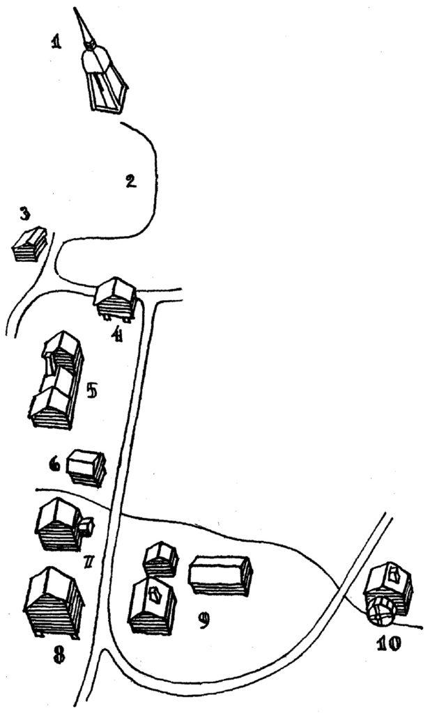 Tecknad karta över tio byggnader.