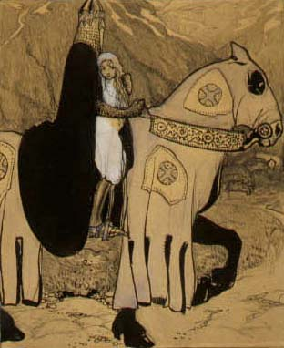 En riddare på en häst håller i en flicka.