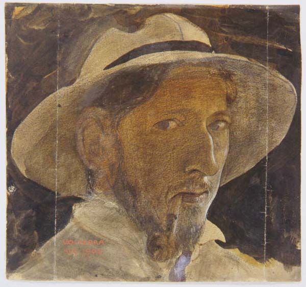 Målat porträtt av en man med skägg. Mannen har en hatt på huvudet och röker en pipa.