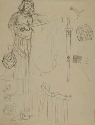Skiss på en man i riddaruniform. Bredvid mannen finns det skisser på svärd.