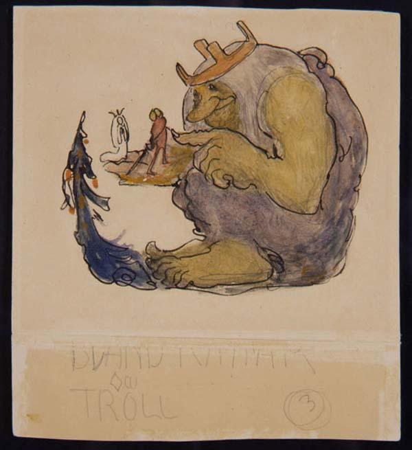 Ett troll sitter ner och har två små människor i handen.