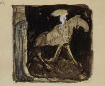 Skiss över en tjej som rider på en häst.
