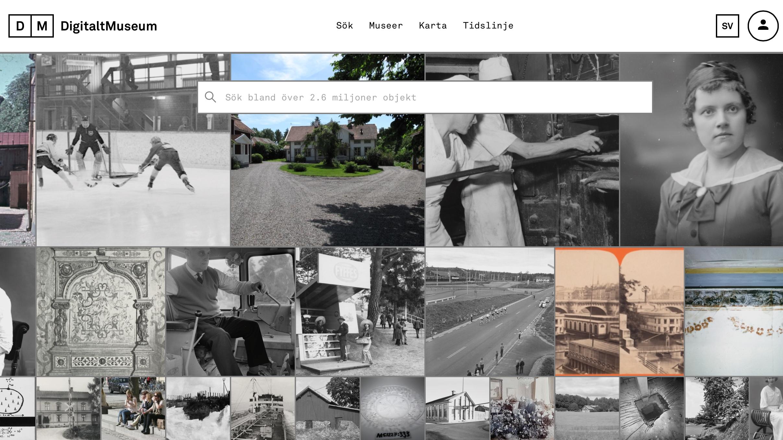 Skärmavbild på Digitalt museums hemsida