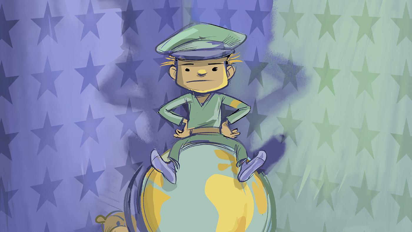 Teckning med en militär på ett jordklot.