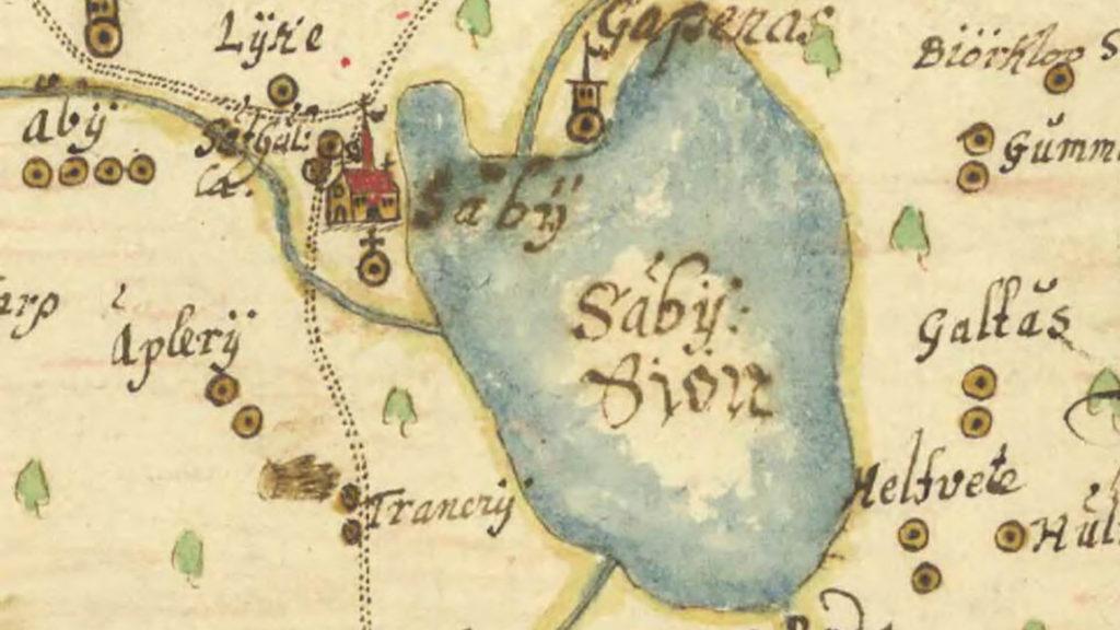 Gammal karta över Säbysjön